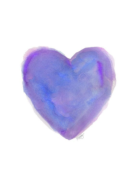 Watercolor Valentine Hearts Images Purple Heart Watercolor Art