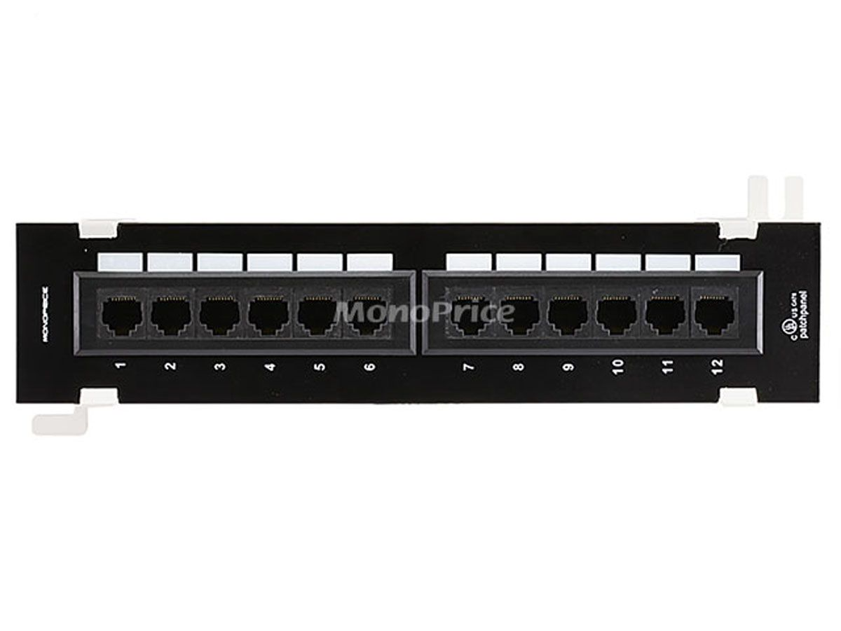 Cat6 Mini Patch Panel 110 Type 12 Port 568a B Compatible Vertical Monoprice Com Patch Panel Monoprice Wall Mount