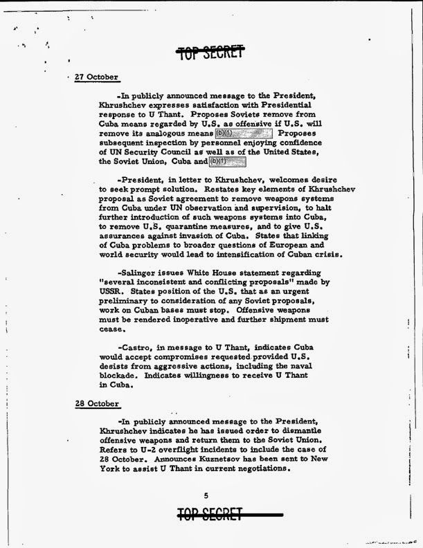 Dubious Secrets Of The Cuban Missile Crisis  YearOld Document