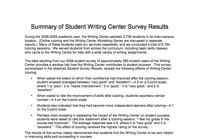 sample summary of survey report #316 | teaching | Pinterest ...