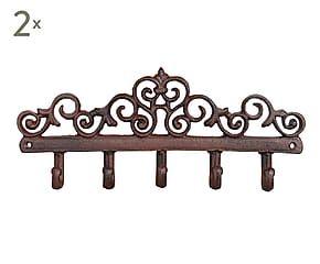 Set de 2 percheros de pared en hierro forjado flores - Percheros de hierro ...