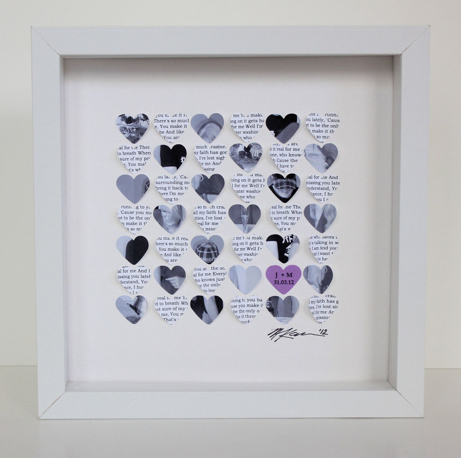 Lyric Wedding Gift picture Frame - 3D song wedding hearts framed art ...