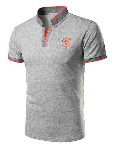 8b33f38cd53a Masculino Polo Casual Formal Esportivo SimplesSólido Algodão Colarinho de  Camisa Manga Curta de 5655488 2017 por €10.47