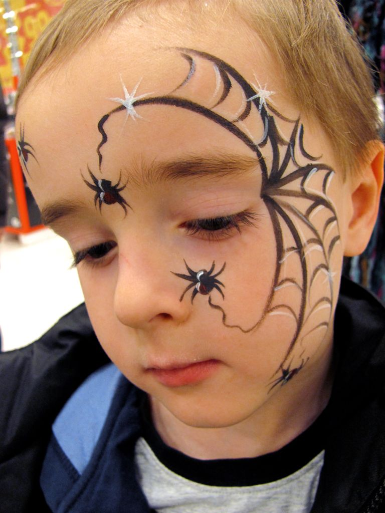 Schminken Kinder Halloween Spiders With Great Web Fp Fast Face Painting For Boys