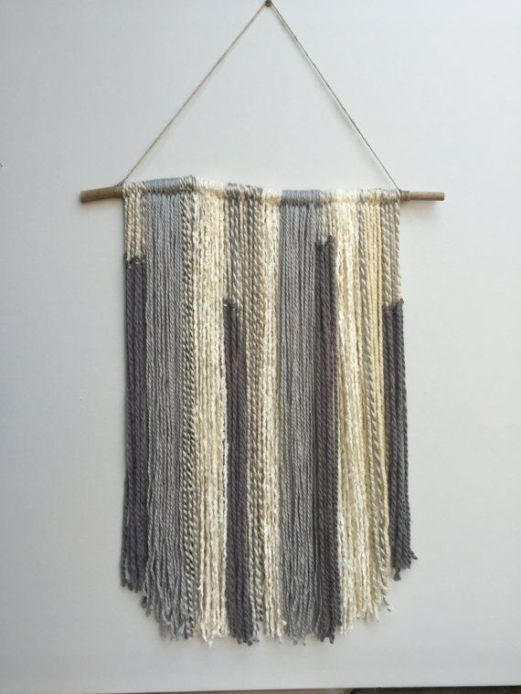 Gray off white and tan yarn wall hanging on bamboo for Yarn wall hanging