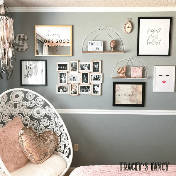 Rose Gold And Gray Girls Bedroom Makeover Tracey S Fancy Girls Bedroom Makeover Rose Gold Bedroom Girls Bedroom Grey