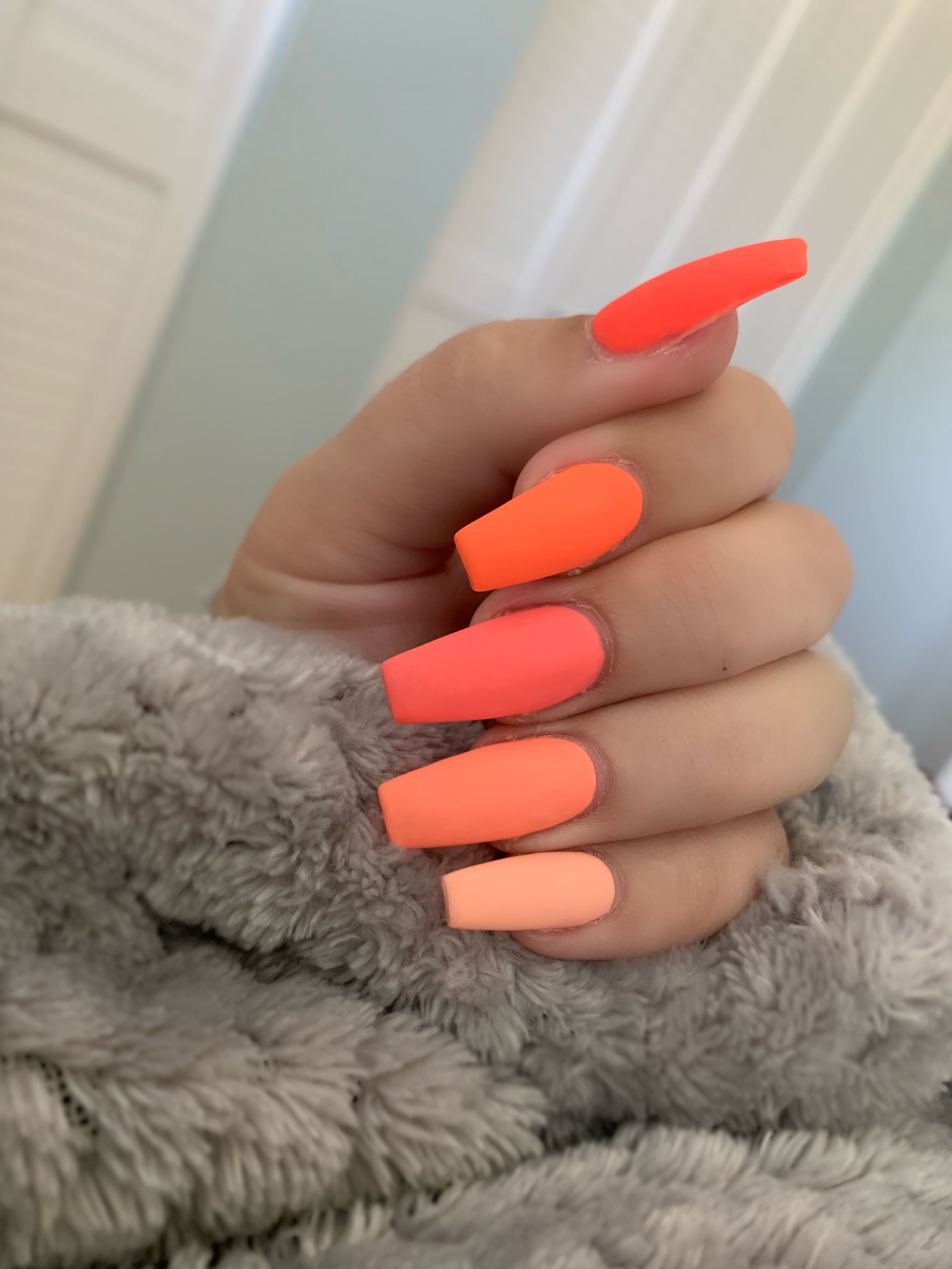 Hawaii Nails Coffin Nails Ombre Pink Ombre Nails Orange Acrylic Nails
