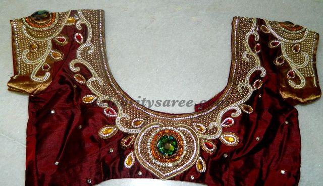 Stone and mirror work blouse designs saree