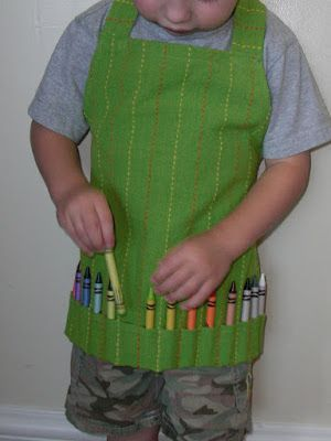 Obsessively Stitching: Kids' Art Apron from Dishtowel -- TUTORIAL