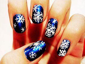 Fashion Blue Snowflake Christmas Nail Art Blue Snowflake Christmas Nail Art For Girls Xmas Nail Designs Holiday Nail Art Cute Christmas Nails