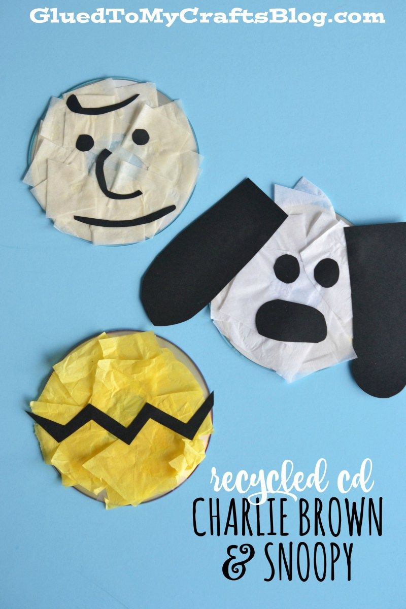 Recycled CD Charlie Brown & Snoopy - Kid Craft #recycledcd
