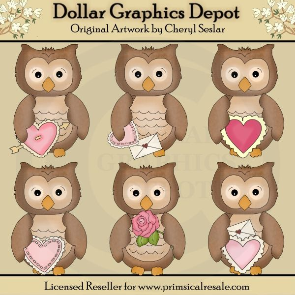 Little Owls - Valentines - Clip Art - $1.00 : Dollar Graphics Depot, Your Dollar Graphic Store
