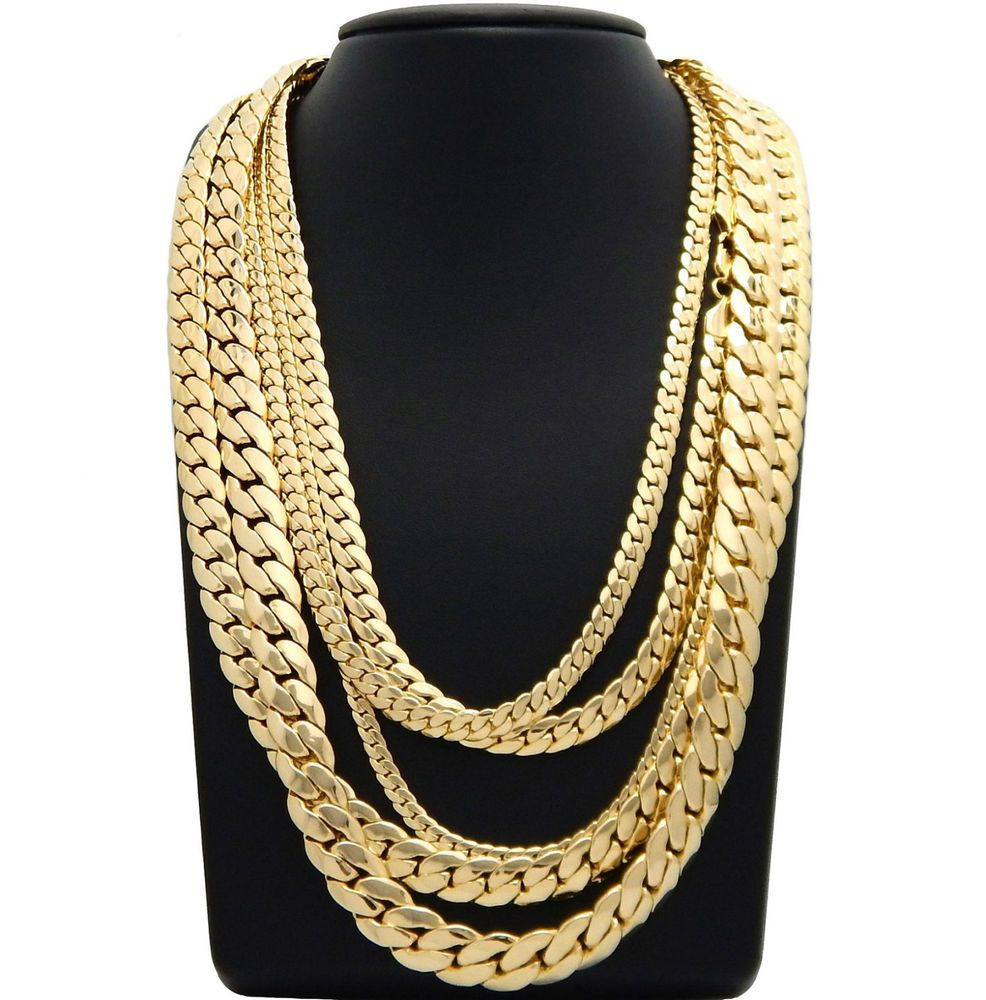 Mens Miami Cuban Link Chain 5mm To 12mm 8 9 20 22 24 26 30 Gold Plated Fashion Jewelry Th Cuban Link Chain Necklaces Gold Chains For Men Chains For Men