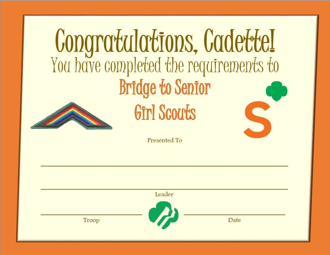 Cadette bridge to senior girl scouts award certificate for Girl scout award certificate templates