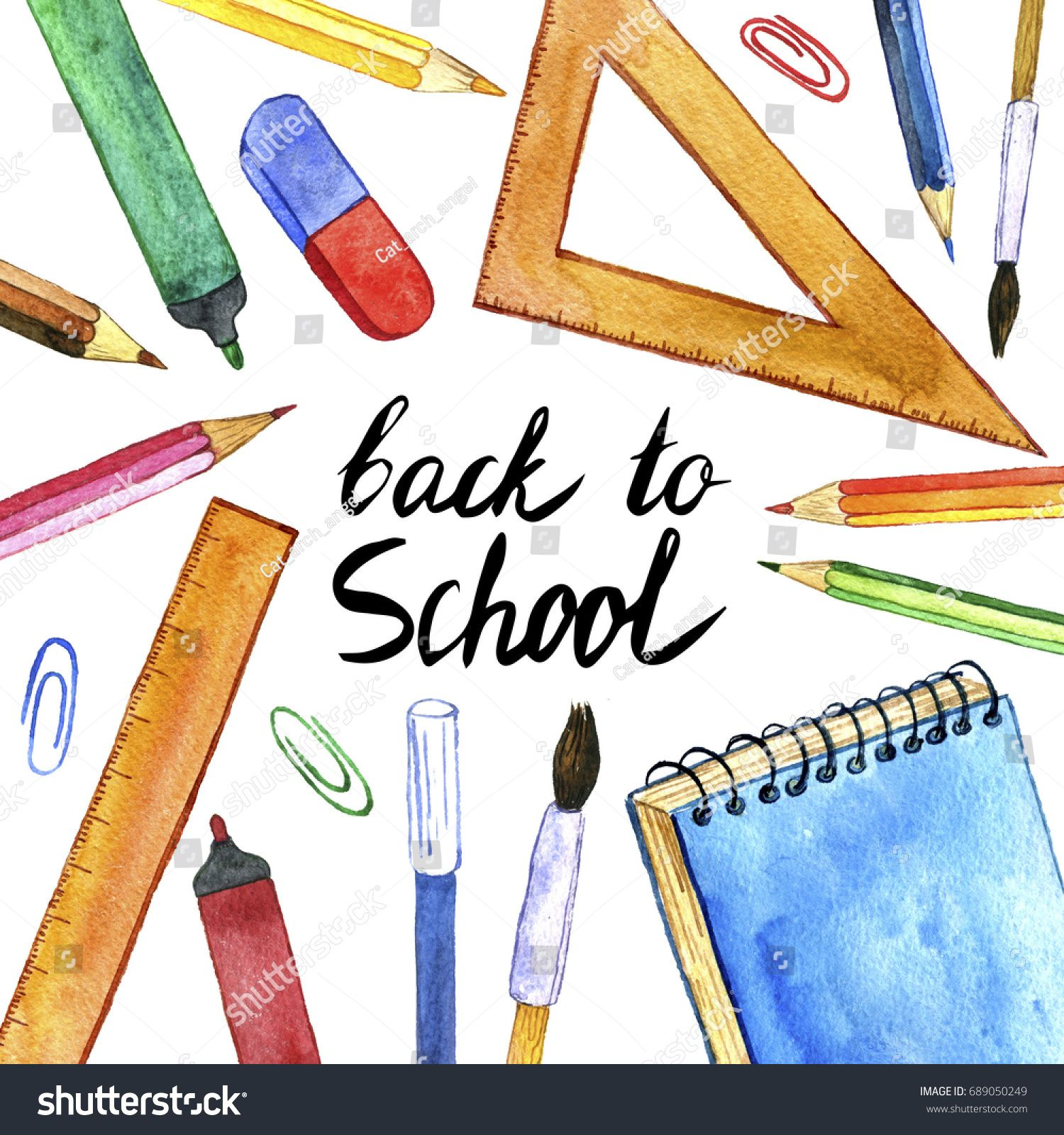 Background With School Stationery Watercolor Drawing Pencils