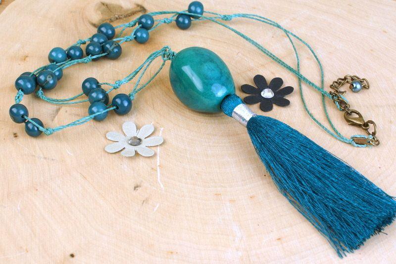 Tassel Boho Necklace, Long Pendant Teal Blue Tagua Nut,  Beaded Acai Necklace, Bohemian Jewelry, Long Beaded Boho Necklace, Eco Necklace by ColorsofBrazil on Etsy