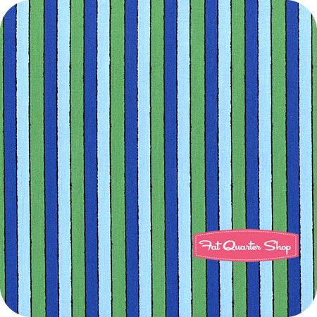 Welcome To Sesame Street Blue And Green Stripe Yardage SKU 22474 BG