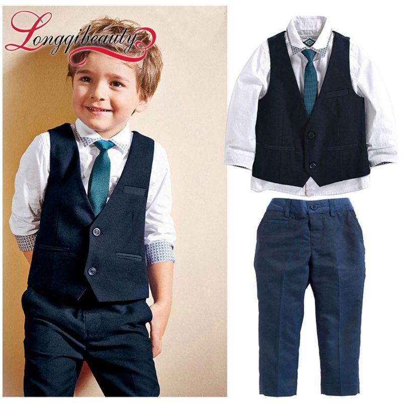 Little Gentleman Kids Boy Fashion Clothing Sets 3pcs Plaid Jacket+ ...
