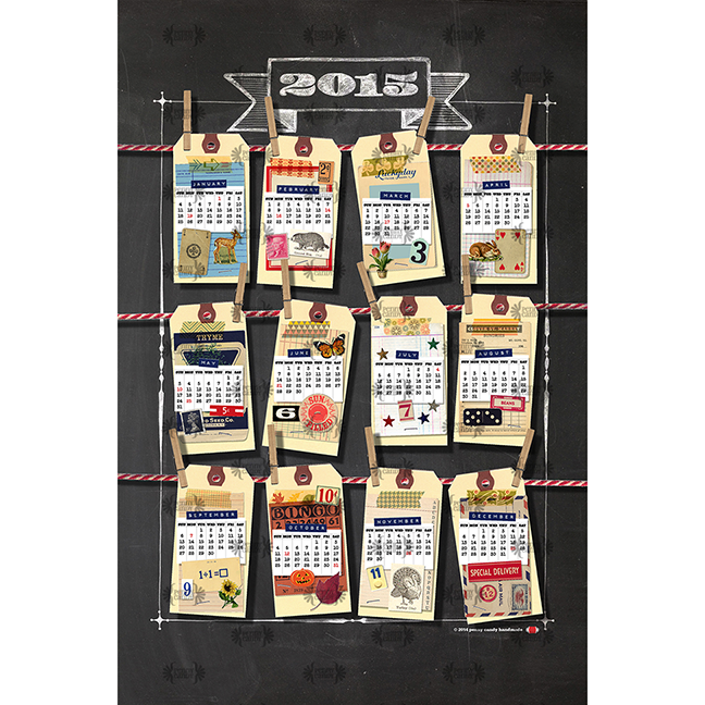 2015 Tea Towel Calendar: Scrappy New Year! fabric by pennycandy on Spoonflower
