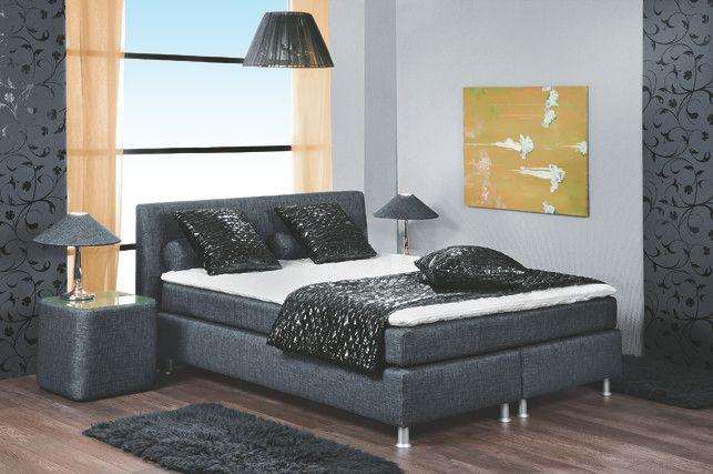 Boxspringbett Luxus 140 X 200 Cm Woody 102-00007 Grau Stoff Modern - schlafzimmer luxus modern