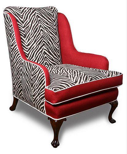 Before U0026 After: Zebra Wingback Chair