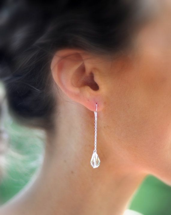 Swarovski Crystal Tear Drop Earrings Sterling Silver Long