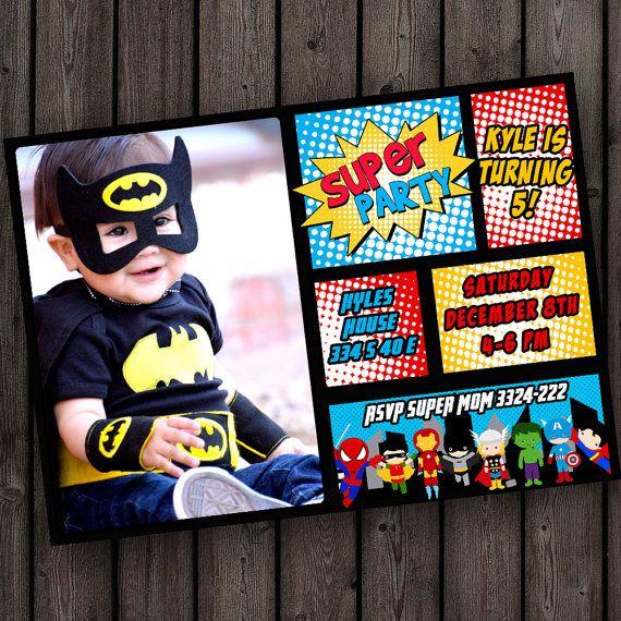same day ship on weekdays custom superhero invitation tons of – Free Printable Superhero Birthday Party Invitations
