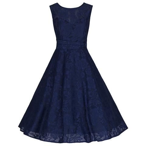 Sleeveless Navy Lace Audrey Swing Dress