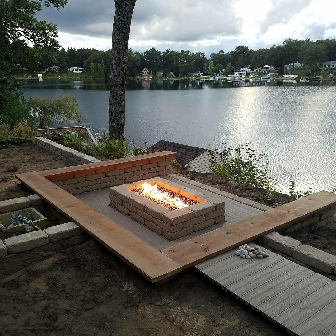 Lakeside sunken patio firepit   Sunken patio, Fire pit ...