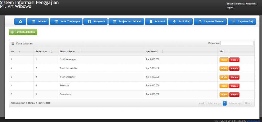 Source Code Aplikasi Sistem Informasi Penggajian Berbasis Web Aplikasi Php Pemrograman