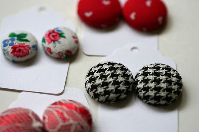 Fabric buttons: we used to make these at my mom's shop for earrings n such. Really fun to make & look super cute.