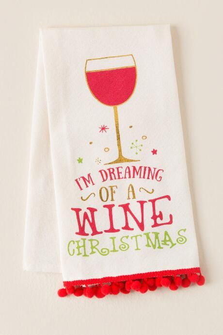 Dreaming Of A Wine Christmas Tea Towel