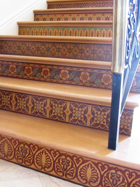 Our Modello® Designs Masking Stencils On Stenciled Staircase Risers!  Artistry By Vicki Shultz U0026