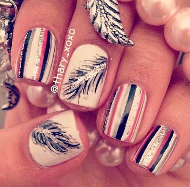 Pink and black striped nails with feather accent nail - Now, How Absolutely Gorgeous Are These? Beauty Pinterest