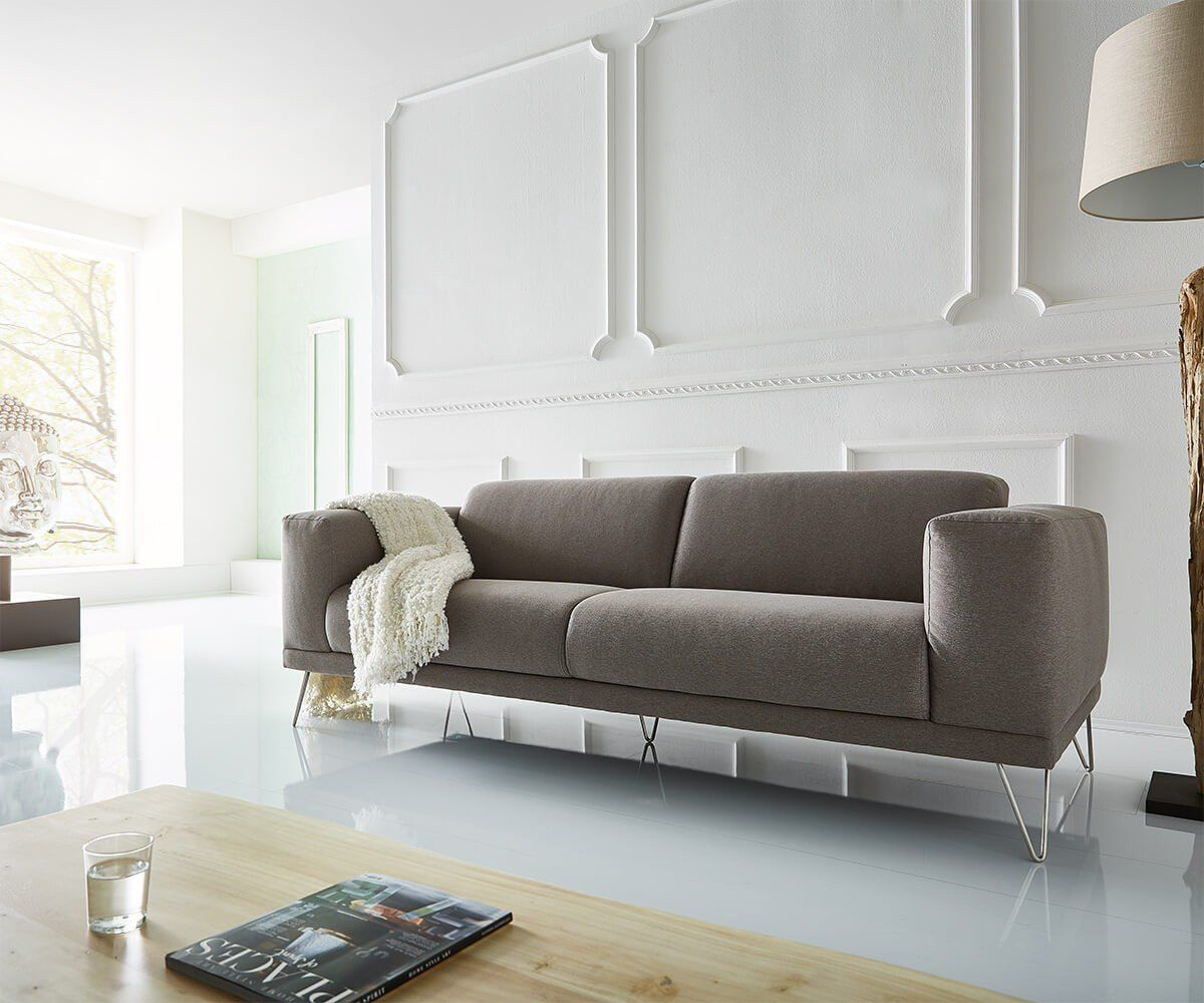 Sofa Lordina Grau 220x90 Cm Bauhausstil Fsse Metall 3 Sitzer Amazonde