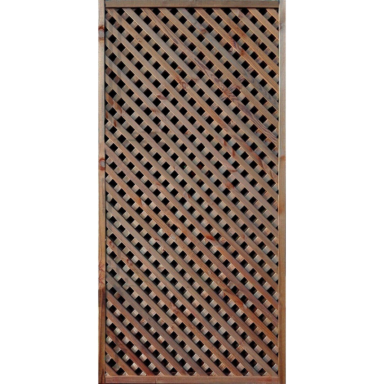 Claustra Treillis Exterieur Bois panneau treillis bois ajouré lea, l.90 x h.180 cm, marron