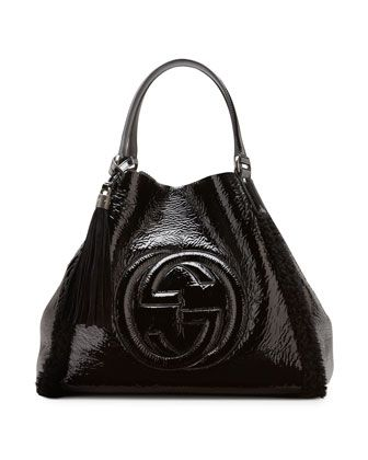 795bf0a8d49d5b Soho Crushed Patent Leather Shoulder Bag, Black by Gucci at Neiman Marcus.