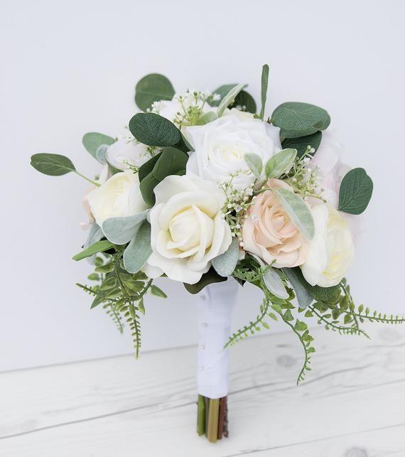 Boho Cream Bouquet, Garden Bouquet, Peony Bouquet, Silk Wedding Bouquet, Greens and Eucalyptus Silk Bridal Bouquet, Real Touch Blush Bouquet