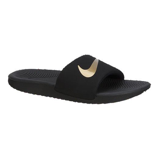 9f2550f5cc9d Nike Girls  Kawa Slides - Black Gold - BLACK METALLIC-GOLD