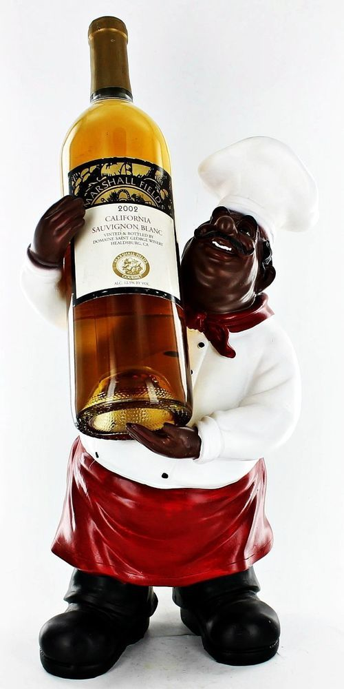 Fat Chef Kitchen Black African American Statue Wine Bottle Holder ...