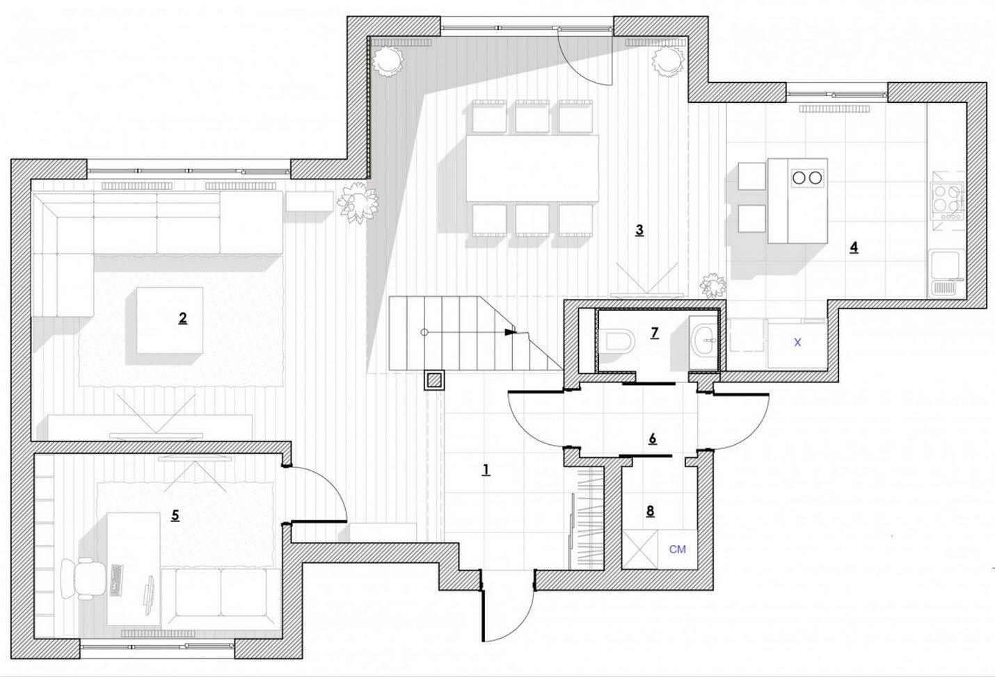 Dise o de casa moderna de dos plantas incluimos los for Casa moderna autocad