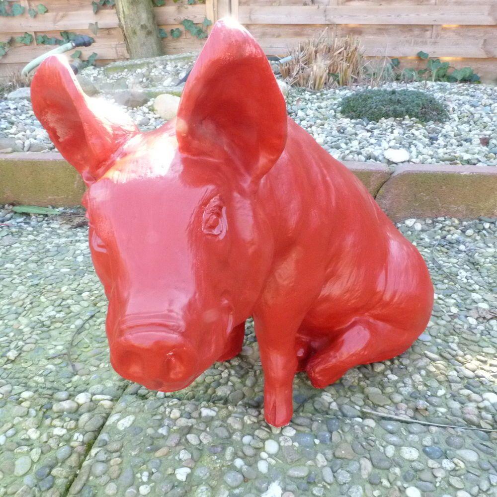 Bemalte Tierfiguren Gartenfiguren Kunstfiguren Tiere Eber