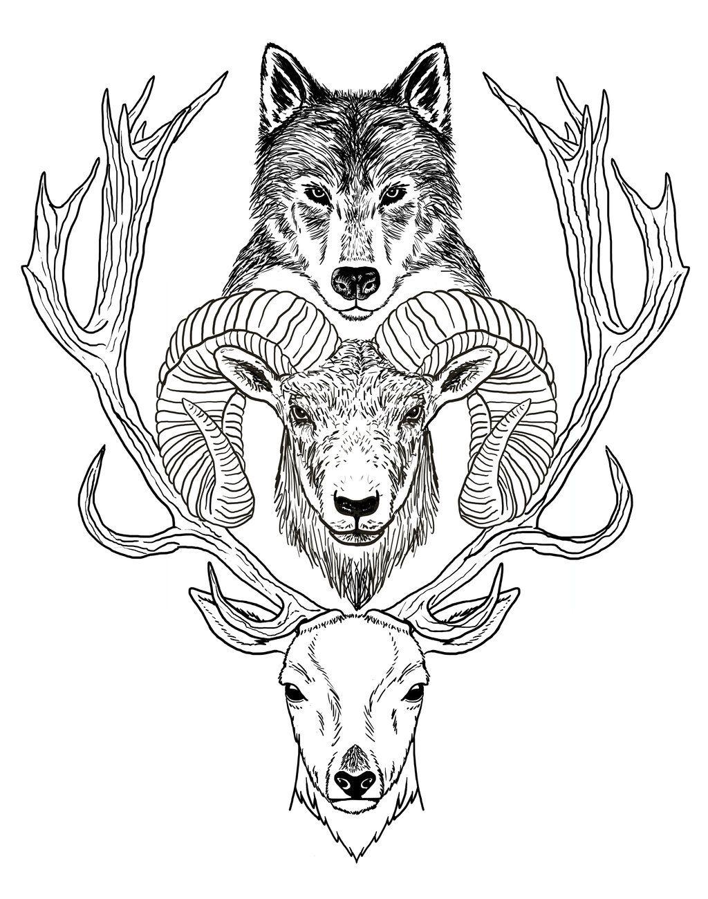 Wolf Ram Hart Jpg Totem Tattoo Buffy Tattoo Art