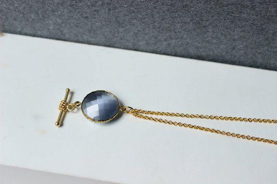 Collana lunga con pietra grigia, collana lunga, collana con ciondolo, collana pietra, pietra grigia, collana, gioielli, ciondolo