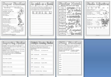 free literacy resource simile worksheet printables teaching reading language pinterest. Black Bedroom Furniture Sets. Home Design Ideas