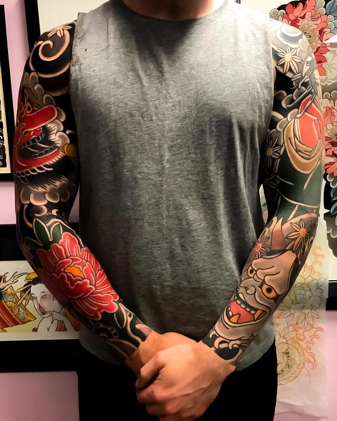 e2a482feb Japanese tattoo sleeves by @mitchxlovetattoo. #japaneseink #japanesetattoo  #irezumi #tebori #colortattoo #colorfultattoo #cooltattoo #largetattoo  #armtattoo ...