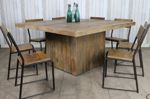 Superb This Unusual Large Square Table Features A 100% Reclaimed Top With Lots Of  Charm And
