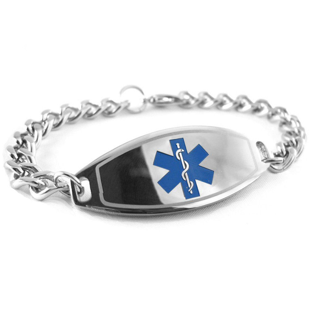 Deluxe Engraveable Silicone Bracelet (Inside Engraving) Blue Medium 19cm OfQHRin