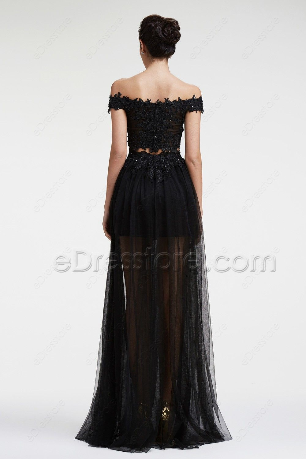 Black lace beaded two piece prom dresses long summer bitches