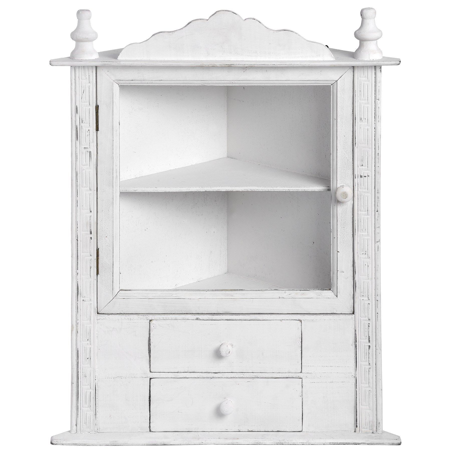 Antique White Distressed Wooden Corner Cabinet
